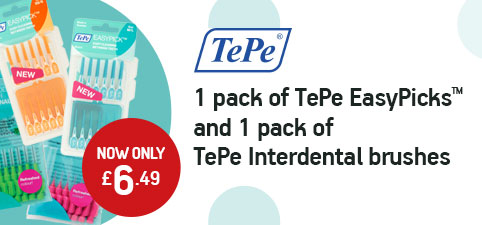 1 pack of TePe EasyPicks™ and 1 pack of TePe Interdental brushes NOW ONLY £6.49